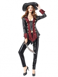 Women Leather Pants Hat Pirates Fancy Costume